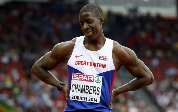 Dwain Chambers of Britain reacts after competing in the men's 100 metres heats during the European Athletics Championships at the Letzigrund Stadium in Zurich August 12, 2014. REUTERS/Arnd Wiegmann (SWITZERLAND  - Tags: SPORT ATHLETICS)