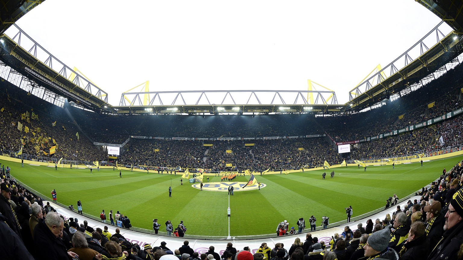 DORTMUND, GERMANY - JANUARY 25:  A general view of Signal Iduna Park prior to the Bundesliga match between Borussia Dortmund and FC Augsburg at Signal Iduna Park on January 25, 2014 in Dortmund, Germany.  (Photo by Sascha Steinbach/Bongarts/Getty Images)