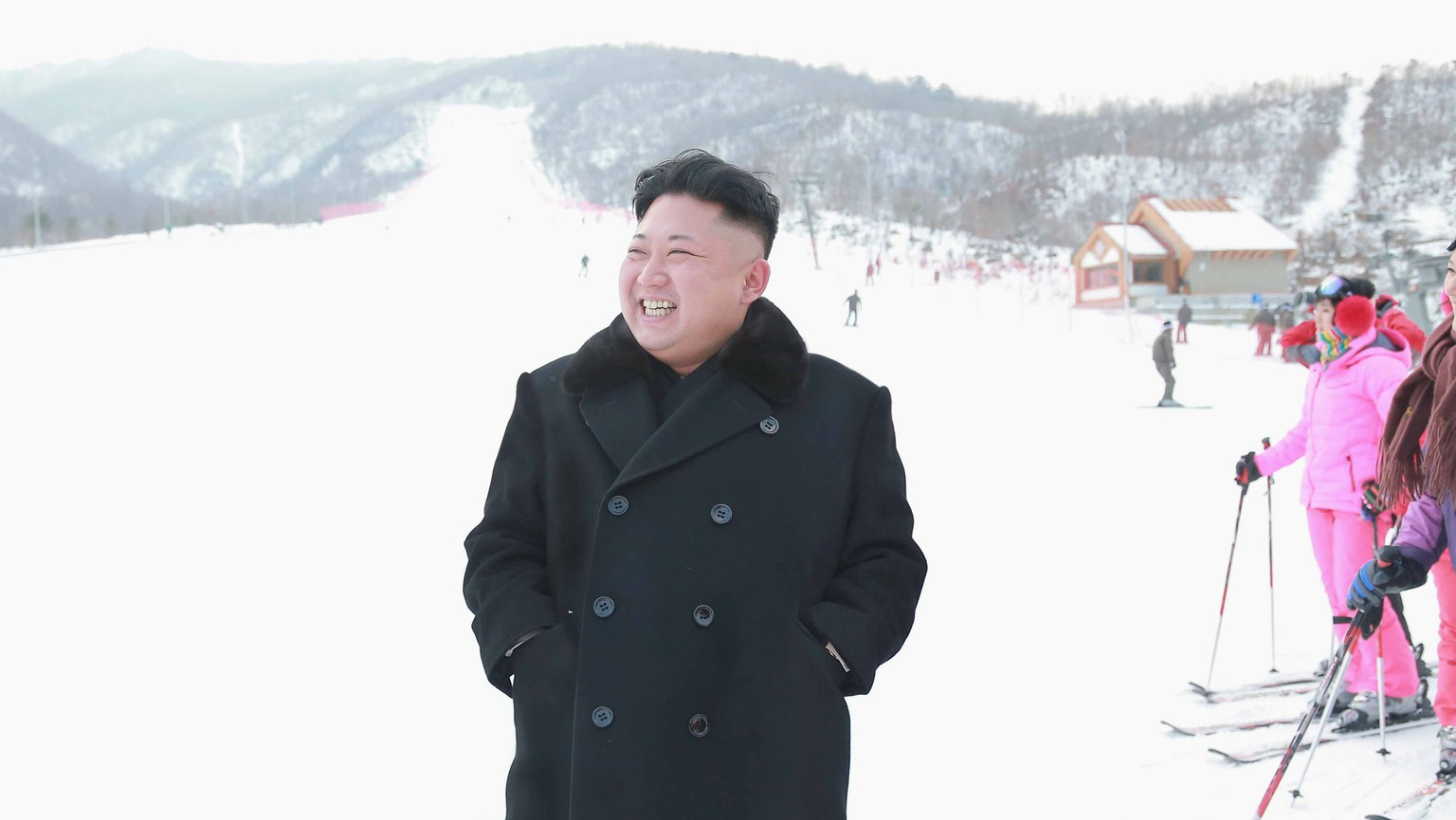 North Korean leader Kim Jong Un visits the newly built ski resort in the Masik Pass region, in this undated photo released by North Korea's Korean Central News Agency (KCNA) in Pyongyang on December 31, 2013. North Korea's state-run television KRT said Kim was satisfied with the ski resort after looking around its facilities which included a hotel, ski service and rental shops.     REUTERS/KCNA (NORTH KOREA - Tags: POLITICS SOCIETY TPX IMAGES OF THE DAY) ATTENTION EDITORS - THIS PICTURE WAS PROVIDED BY A THIRD PARTY. REUTERS IS UNABLE TO INDEPENDENTLY VERIFY THE AUTHENTICITY, CONTENT, LOCATION OR DATE OF THIS IMAGE. FOR EDITORIAL USE ONLY. NOT FOR SALE FOR MARKETING OR ADVERTISING CAMPAIGNS. THIS PICTURE IS DISTRIBUTED EXACTLY AS RECEIVED BY REUTERS, AS A SERVICE TO CLIENTS. NO THIRD PARTY SALES. NOT FOR USE BY REUTERS THIRD PARTY DISTRIBUTORS. SOUTH KOREA OUT. NO COMMERCIAL OR EDITORIAL SALES IN SOUTH KOREA