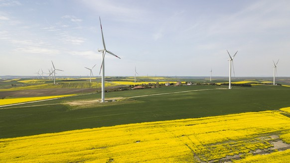 epa07523567 An aerial picture taken by a drone shows wind turbines over canola fields in Silivri near Istanbul, Turkey 23 April 2019. Turkey expands its capacity of wind power mainly in the Aegean and Marmara regions as 20 TWh in 2018 which is seven percent of Turkey's electricity. The Energy Ministry plans to install another 10GW until 2020.  EPA/TOLGA BOZOGLU
