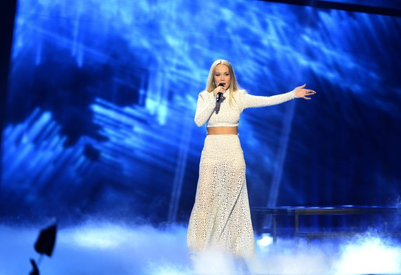 epa05300321 Agnete of Norway performs the song 'Icebreaker' during rehearsals for the Second Semi-Final of the 61st annual Eurovision Song Contest (ESC) at the Ericsson Globe in Stockholm, Sweden, 11 May 2016. The event's grand final takes place on 14 May.  EPA/MAJA SUSLIN SWEDEN OUT
