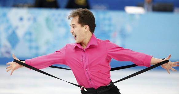 Kazakhstan's Abzal Rakimgaliev competes during the figure skating men's short program at the Sochi 2014 Winter Olympics, February 13, 2014.         REUTERS/Lucy Nicholson (RUSSIA  - Tags: SPORT FIGURE SKATING OLYMPICS)
