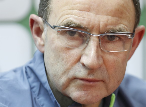 Republic of Ireland national team coach Martin O'Neill addresses to journalist during press conference in Zenica, Bosnia, on Thursday, Nov. 12, 2015. Bosnia will play EURO 2016 playoff soccer match against Ireland tomorrow. (AP Photo/Amel Emric)