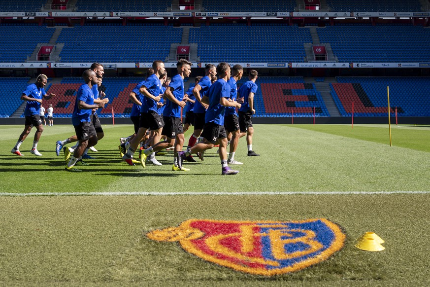 Basel's players during a training session a day before the UEFA Europa League third qualifying round second leg match between Switzerland's FC Basel 1893 and Netherland's Vitesse in the St. Jakob-Park stadium in Basel, Switzerland, on Wednesday, August 15, 2018. (KEYSTONE/Georgios Kefalas)