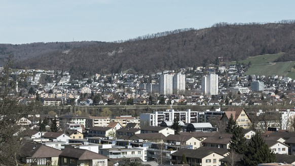 View of Wettingen from Neuenhof, Switzerland, pictured on April 14, 2013. Agglomerations shape the Swiss landscape. It is a conglomerate coexistence of big and small, old and new, esthetic and functional. In Switzerland, the opinion on agglomerations is divided. Some speak of