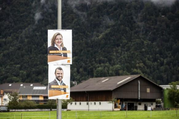 Wahlplakate der Urner Regierungsraetin und Staenderatskandidatin Heidi Z'graggen und Nationalratskandidat Simon Stadler, fotografiert am Montag, 23. September 2019, in Altdorf. (KEYSTONE/Alexandra Wey)