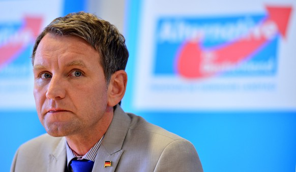 epa05744125 (FILE) - The file picture dated 17 May 2016 shows Bjoern Hoecke, head of right-wing party Alternative for Germany (AfD) in the German eastern state of Thuringia, during a press conference at the state parliament of Thuringia in Erfurt, Germany. According to media reports on 23 January 2017, the federal executive board of the AfD discussed to initiate regulatory measures against Hoecke who provoked an outrage with a speech attacking the Holocaust Memorial in Berlin that commemorates the Jewish vistims.  EPA/MARTIN SCHUTT  GERMANY OUT *** Local Caption *** 52762410