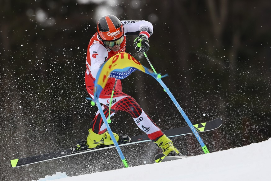 Austria's Roland Leitinger competes in an alpine ski, men's World Cup giant slalom, in Garmisch Partenkirchen, Germany, Sunday, Feb. 2, 2020. (AP Photo/Marco Trovati)
