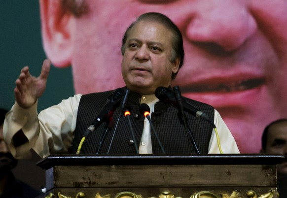 FILE - In this Oct. 3, 2017, file photo, Pakistan's former Prime Minister Nawaz Sharif addresses his Pakistan Muslim League supporters during a party general council meeting in Islamabad, Pakistan. The political party of Pakistan's jailed former prime minister asked authorities on Monday, July 23, 2018, to urgently move Nawaz Sharif to a hospital, saying his health was deteriorating rapidly and that he needed to be treated by his own doctors. (AP Photo/Anjum Naveed, File)