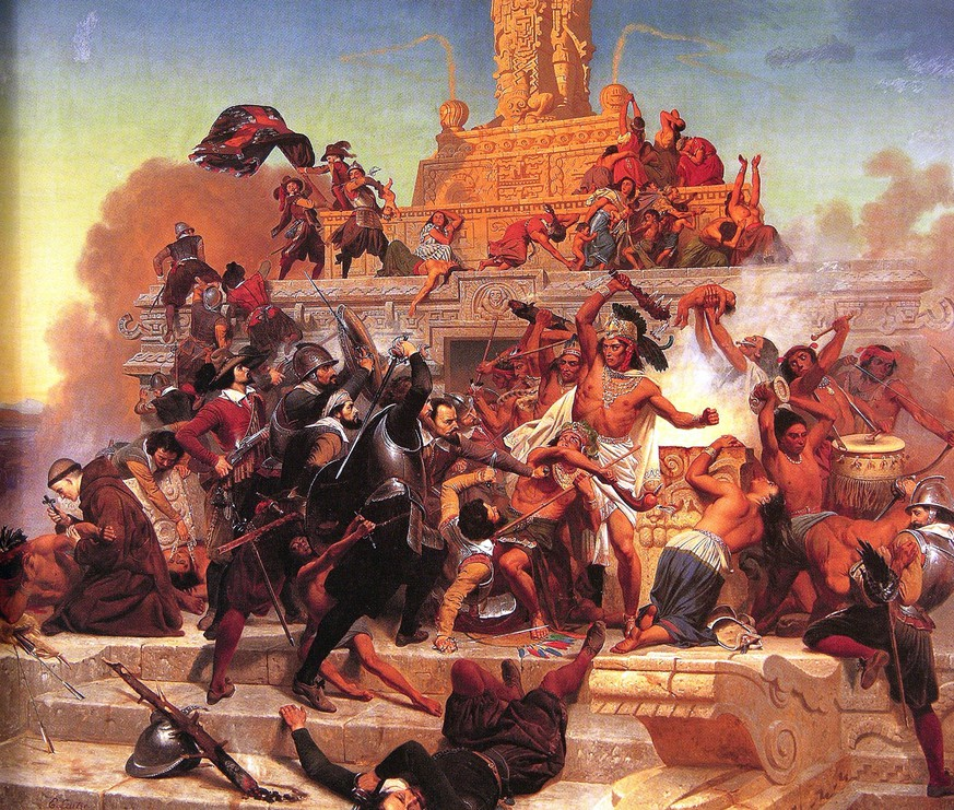 Storming of the Teocalli by Cortez and His Troops  (1848) von Emanuel Leutze  https://www.pinterest.ca/pin/141581982018573282/?lp=true