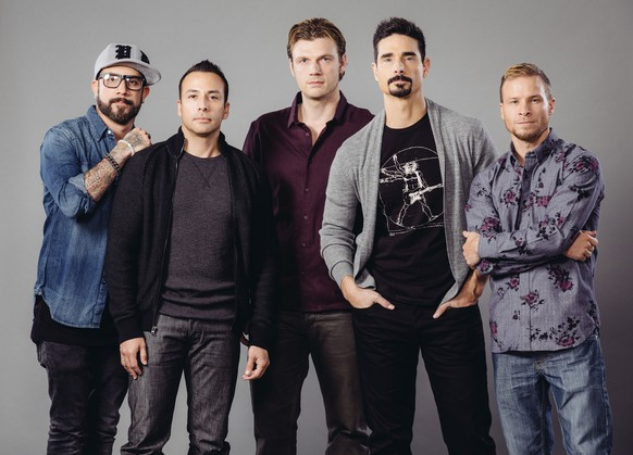 FILE - In this Jan. 27, 2015 file photo, AJ McLean, from left, Howie Dorough, Nick Carter, Kevin Richardson, and Brian Littrell of the Backstreet Boys pose for a portrait in promotion of their upcoming theatrical documentary