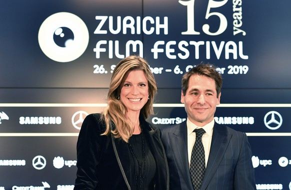 epa07836630 Swiss Nadja Schildknecht (L) and Karl Spoerri directors of the Zurich Film Festival present the program of the 15th edition of the festival during a press conference in Zurich, Switzerland, 12 September 2019. The festival will run from 26 September to 06 October.  EPA/WALTER BIERI