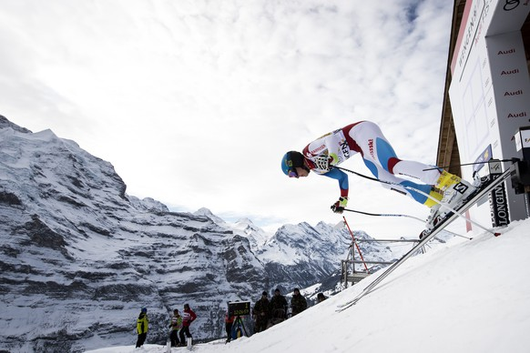 ARCHIVBILD ZUM TOD VON SKIPROFI GIAN LUCA BARANDUN --- Gian Luca Barandun of Switzerland in action at the start during a training session of the men's downhill race of the FIS Alpine Ski World Cup at the Lauberhorn, in Wengen, Switzerland, Wednesday, January 11, 2017. (KEYSTONE/Jean-Christophe Bott)