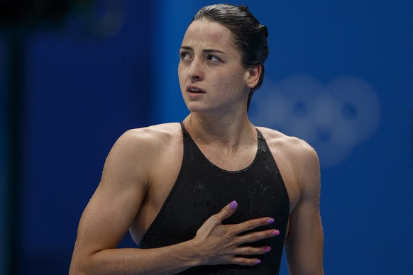 epa09373854 Lisa Mamie of Switzerland walks out after competing in the women's 200m Breaststroke Heats during the Swimming events of the Tokyo 2020 Olympic Games at the Tokyo Aquatics Centre in Tokyo, Japan, 28 July 2021.  EPA/Patrick B. Kraemer