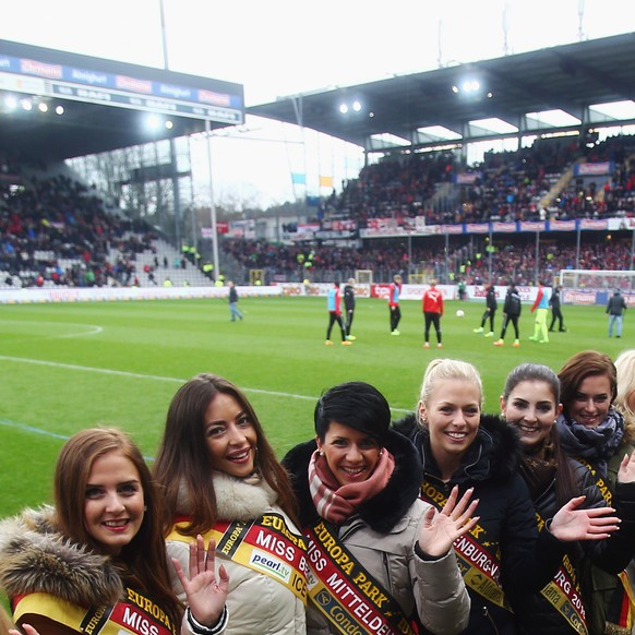FREIBURG IM BREISGAU, GERMANY - FEBRUARY 14:  Participants of the Miss Germany contest pose during the Second Bundesliga match between SC Freiburg and Fortuna Duesseldorf at Schwarzwald-Stadion on February 14, 2016 in Freiburg im Breisgau, Germany.  (Photo by Alex Grimm/Bongarts/Getty Images)