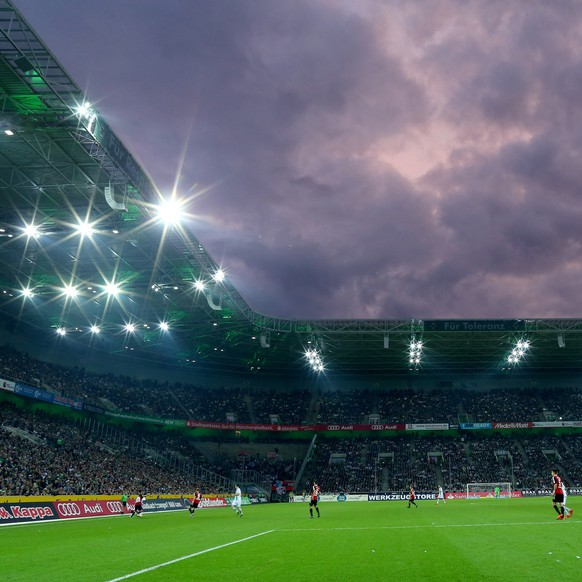MOENCHENGLADBACH, GERMANY - NOVEMBER 07: General view of the Borussia-Park during the Bundesliga match between Borussia Moenchengladbach and FC Ingolstadt at Borussia-Park on November 7, 2015 in Moenchengladbach, Germany.  (Photo by Christof Koepsel/Bongarts/Getty Images)