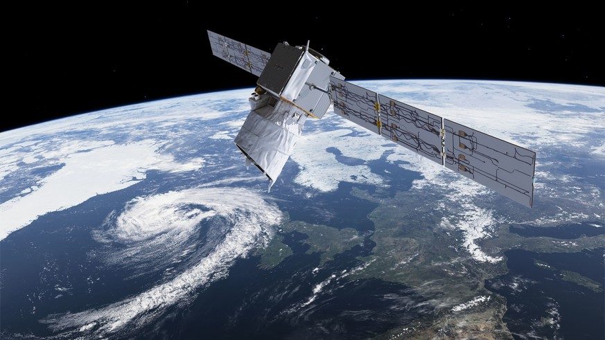 The photo provided by European Space Agency ESA shows an artists rendering of ESA's Aeolus satellite which will provide timely and accurate profiles of the world's winds and further information on aerosols and clouds. The Aeolus satellite, named after the keeper of the winds in Greek mythology, is scheduled to lift off Tuesday, Aug. 21, 2018 aboard an Ariane rocket from French Guiana at 6:20 p.m. (2120 GMT). (ESA via AP)