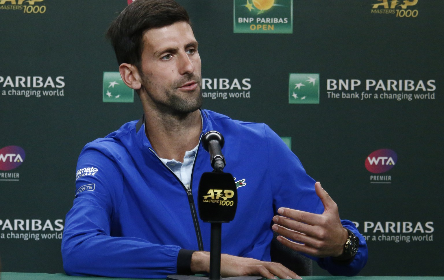 epa07420951 Novak Djokovic of Serbia speaks during a press conference at the Indian Well Tennis Garden in Indian Wells, California, USA, 07 March 2019. The men's and women's final will be played on 17 March 2019.  EPA/LARRY W. SMITH
