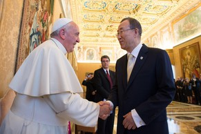 "In this photo provided by the Vatican newspaper L'Osservatore Romano, Pope Francis greets U.N. Secretary-General Ban Ki-moon at the Vatican, Friday, May 9, 2014. Pope Francis called Friday for governments to redistribute wealth to the poor in a new spirit of generosity to help curb the ""economy of exclusion"" that is taking hold today. Francis made the appeal during a speech to U.N. Secretary-General Ban Ki-moon and the heads of major U.N. agencies who are meeting in Rome this week. Latin America's first pope has frequently lashed out at the injustices of capitalism and the global economic system that excludes so much of humanity. (AP Photo/L'Osservatore Romano)"