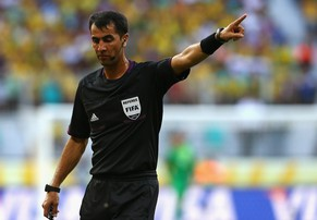 SALVADOR, BRAZIL - JUNE 22:  Referee Ravshan Irmatov gestures during the FIFA Confederations Cup Brazil 2013 Group A match between Italy and Brazil at Estadio Octavio Mangabeira (Arena Fonte Nova Salvador) on June 22, 2013 in Salvador, Brazil.  (Photo by Robert Cianflone/Getty Images)