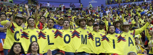 Fans cheers prior to the group H match between Poland and Colombia at the 2018 soccer World Cup at the Kazan Arena in Kazan, Russia, Sunday, June 24, 2018. (AP Photo/Thanassis Stavrakis)