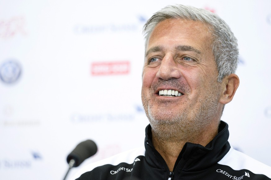epa05525685 Swiss national soccer team head coach Vladimir Petkovic smiles during a press conference in Basel, Switzerland, 05 September 2016. Switzerland will face Portugal in the FIFA World Cup 2018 qualifying soccer match in Basel on 06 September 2016.  EPA/MANUEL LOPEZ