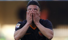 AS Roma's Daniele Verde reacts during their Serie A soccer match against Chievo Verona at the Marcantonio Bentegodi stadium in Verona, March 8, 2015.   REUTERS/Stefano Rellandini  (ITALY - Tags: SPORT SOCCER)