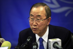 U.N. Secretary-General Ban Ki-moon speaks during a news conference at the UNMISS (United Nations Mission in South Sudan) base in Juba May 6, 2014. Ban said on Tuesday that South Sudan's rebel leader Riek Machar had been invited to Ethiopia for peace talks and that would