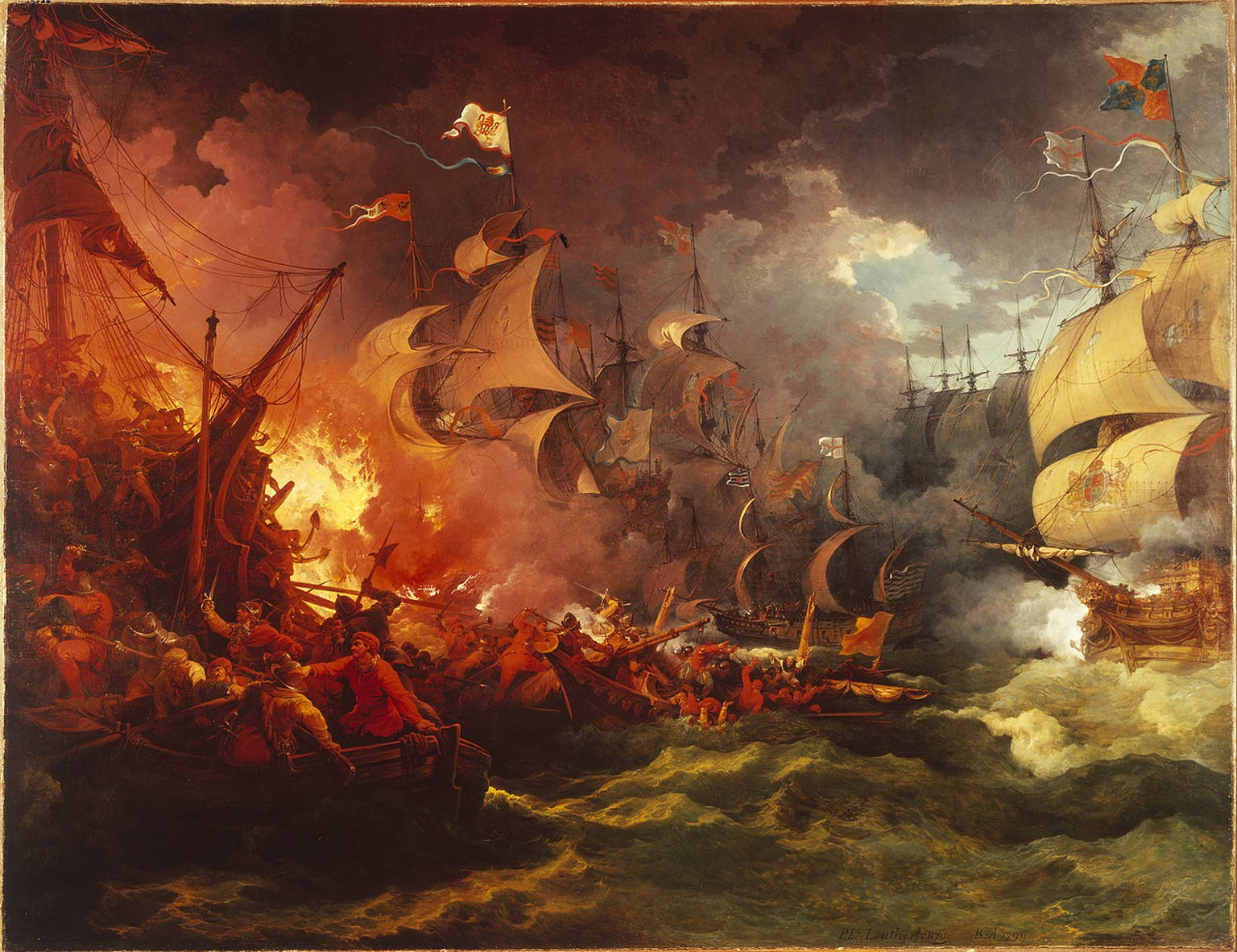 A theatrical interpretation of the Battle of Gravelines  Gemälde von Charles Fairborough, 1796, Defeat of the Spanish Armada, 8. Aug. 1588