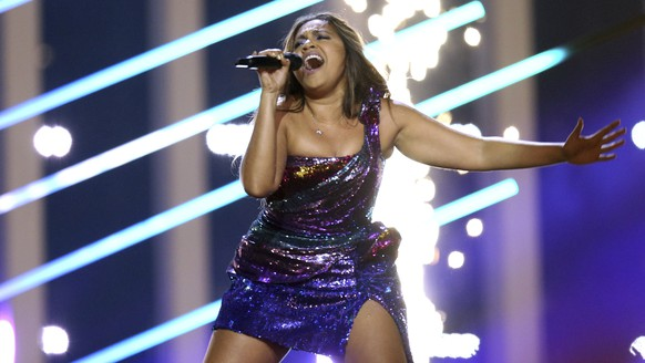 Jessica Mauboy from Australia performs the song 'We Got Love' in Lisbon, Portugal, Thursday, May 10, 2018 during the second semifinal of the Eurovision Song Contest. The Eurovision Song Contest grand final takes place in Lisbon on Saturday May 12, 2018. (AP Photo/Armando Franca)