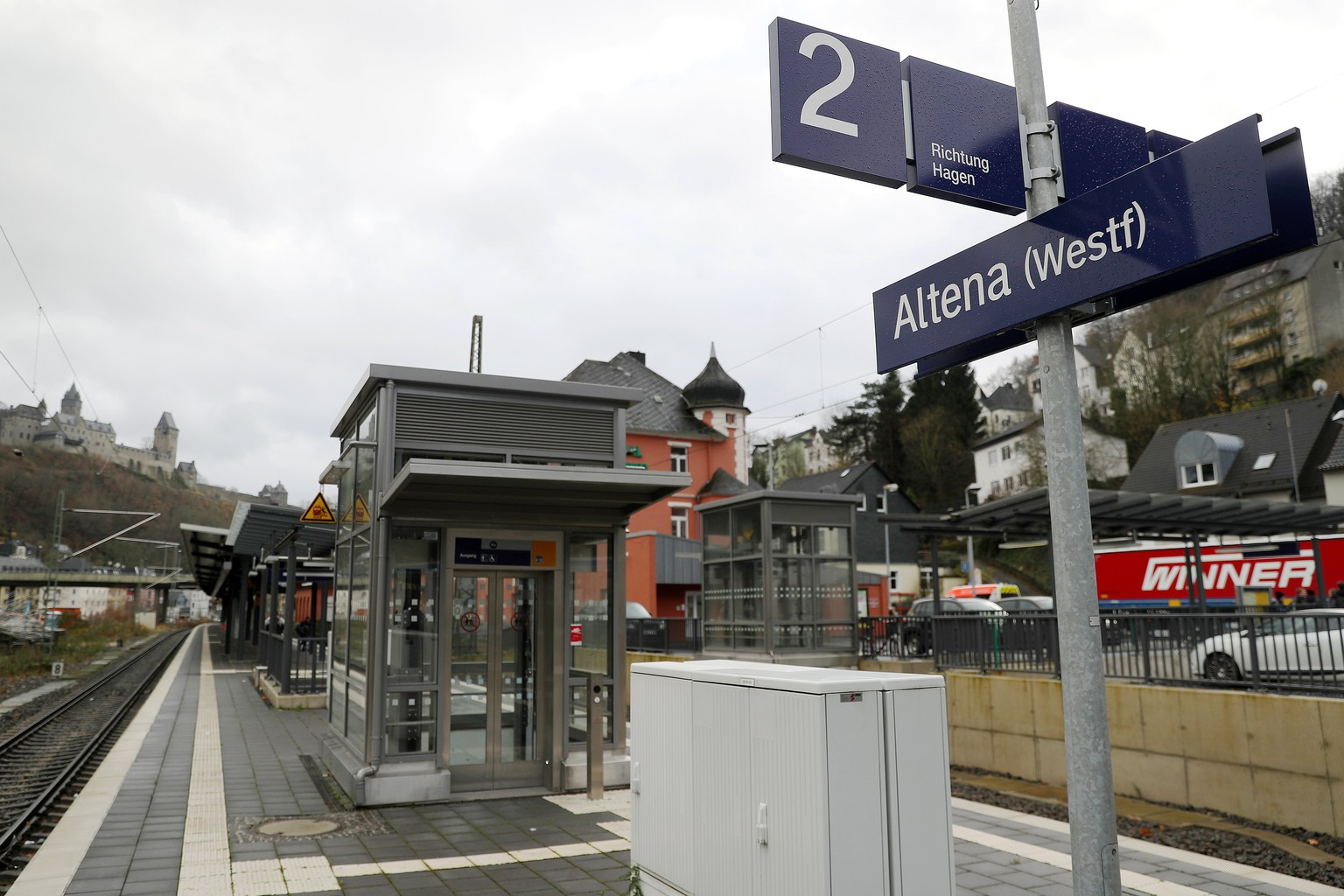 epa06355285 The train station of Altena, North Rhine-Westphalia, Germany, 28 November 2017. A man has attacked and injured the mayor of Altena in what police believe was a xenophobic act. Andreas Hollstein was assaulted with a knife while waiting at a doner kebab fast food stand in Altena, Germany in the evening of 27 November 2017. Witnesses to the incident said that a man approached Hollstein, who is a member of the conservative CDU party, and criticized him for his pro-refugee policy, then pulling a knife an injuring him on the neck.  EPA/ULRICH HUFNAGEL