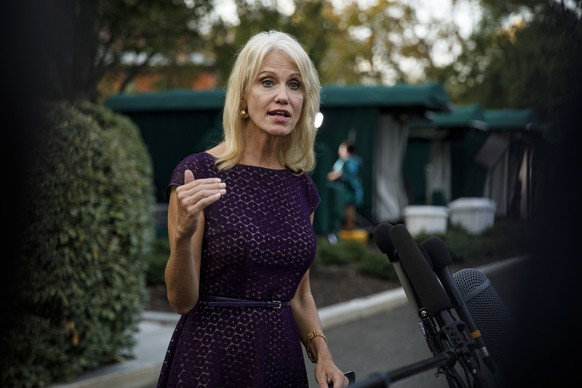 Counselor to the President Kellyanne Conway speaks to media at the White House in Washington, Thursday, Sept. 26, 2019. (AP Photo/Carolyn Kaster) Kellyanne Conway