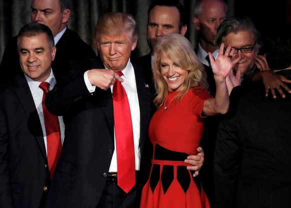 U.S. President-elect Donald Trump and his campaign manager Kellyanne Conway greet supporters during his election night rally in Manhattan, New York, U.S., November 9, 2016.   REUTERS/Mike Segar     TPX IMAGES OF THE DAY