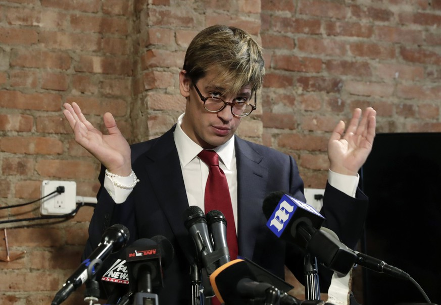 epa05807504 Breitbart senior editor Milo Yiannopoulos addresses the media at a press conference in New York City, USA, 21 February 2017. Yiannopoulos announced his resignation from Breitbart after controversial comments he made in a video recently resurfaced.  EPA/JASON SZENES