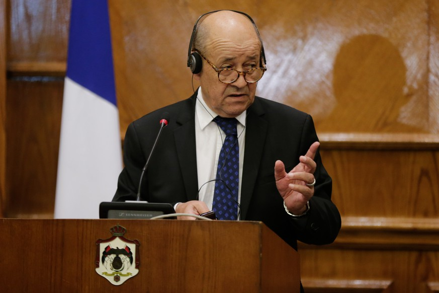 epa06923369 French Foreign Minister Jean-Yves Le Drian speaks during a joint press conference with the Jordan Minister of Foreign Affairs and Expatriates Ayman Safadi (not pictured), at the Foreign Ministry, in Amman, Jordan, 02 August 2018. Le Drian is in Jordan for two-day official visit.  EPA/ANDRE PAIN