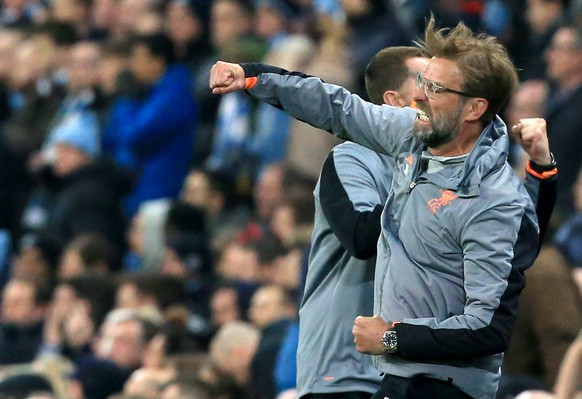 epa06660236 Liverpool manager Juergen Klopp during the UEFA Champions League quarter final second leg match between Manchester City and Liverpool at Etihad Stadium, Manchester, Britain, 10 April 2018.  EPA/LINDSEY PARNABY