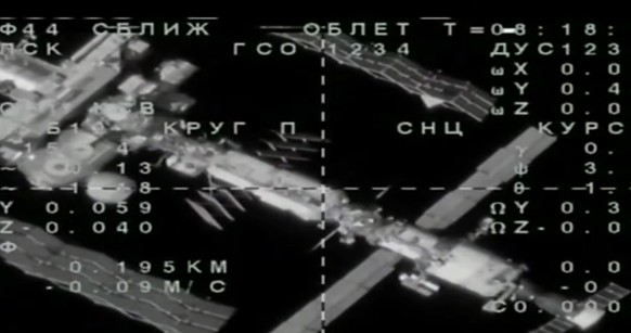 epa07789523 A handout frame grab taken from video footage released by the Russian Space Agency (Roscosmos) shows a view from the Soyuz MS-14 spacecraft carrying Russian anthropomorphous robot Fedor (Skybot F-850) during an unsuccessful docking maneuver with the International Space Station (ISS), 24 August 2019. The Soyuz capsule carrying a Russian-built android, which left Earth on 22 August, failed the docking process on 24 August morning due to issues related to the automatic docking system, media reported citing a live broadcast. The ship was reported to have moved to 'safe distance' from the ISS with officials reportedly planning to attempt docking again on 26 August morning, media reported.  EPA/ROSCOSMOS HANDOUT  HANDOUT EDITORIAL USE ONLY/NO SALES