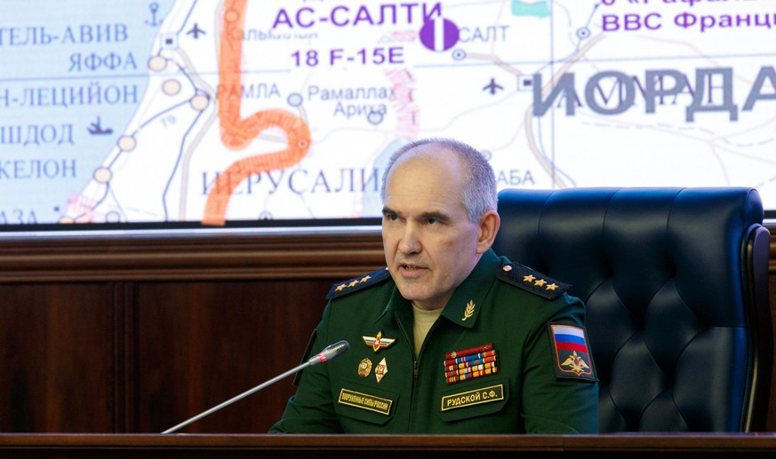 epa06669431 A handout photo made available by Russian Defense Ministry showing Chief of the Main Operational Directorate of the General Staff of the Russian Armed Forces, Lieut. Gen. Sergei Rudskoy addressing the media during a briefing on the situation in Syria at the Russian National Defense Management Center in Moscow, Russia, 14 April 2018. The US, France, and Britain launched strikes against Syria early 14 April in response to Syria's suspected chemical weapons attack.  EPA/VADIM SAVITSKY HANDOUT MANDATORY CREDIT HANDOUT EDITORIAL USE ONLY/NO SALES