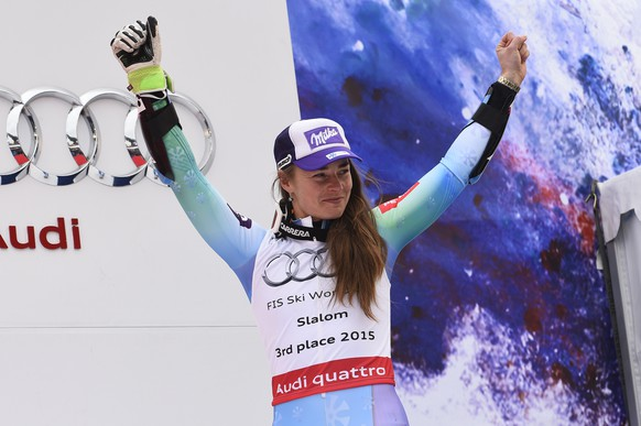 MERIBEL, FRANCE - MARCH 21: (FRANCE OUT) Tina Maze of Slovenia takes 3rd place in the overall Slalom World Cup during the Audi FIS Alpine Ski World Cup Finals Women's Slalom on March 21, 2015 in Meribel, France. (Photo by Alain Grosclaude/Agence Zoom/Getty Images)