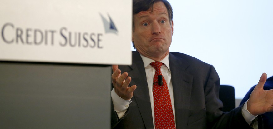 CEO Brady Dougan of Swiss bank Credit Suisse gestures during a news conference to present the bank's half-year results in Zurich July 22, 2014. Credit Suisse Group AG reported its biggest quarterly loss since the peak of the financial crisis in 2008, the result of a 1.6 billion Swiss franc ($1.78 billion) settlement with U.S. authorities over helping its clients evade taxes.     REUTERS/Arnd Wiegmann (SWITZERLAND - Tags: BUSINESS HEADSHOT TPX IMAGES OF THE DAY)
