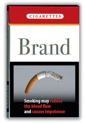 European Commission handout of proposed photo on a package of cigarettes Friday, October 22, 2004 that form part of a new anti-smoking campaign calling on governments to put pictures - from horrific to humorous - on cigarette packs to cajole and frighten smokers into quitting. The 42 pictures include one with graphic details of a man with a cancer-ridden throat, but most make only indirect allusions to the dangers of smoking. A picture of a curved cigarette refers to smoking-related impotence.  (KEYSTONE/EPA/Handout/European Commission) ===  ===