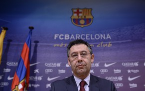 FC Barcelona's president Josep Maria Bartomeu attends a press conference at the Camp Nou stadium in Barcelona, Spain, Wednesday, Jan 7, 2015. Bartomeu has announced the club will hold a presidential election at the end of the current season. (AP Photo/Manu Fernandez)