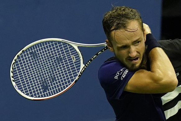 Daniil Medvedev, of Russia, watches a shot to Federico Delbonis, of Argentina, during the first round of the U.S. Open tennis championships, Tuesday, Sept. 1, 2020, in New York. (AP Photo/Frank Franklin II) Daniil Medvedev