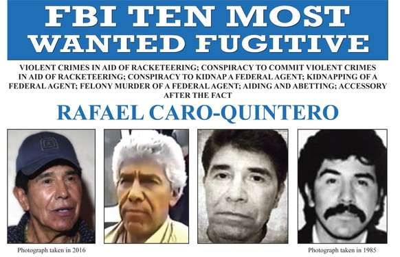 This image released by the FBI shows the wanted posted for Rafael Caro Quintero. Rafael Caro Quintero, a Mexican drug kingpin convicted in the 1985 killing of a DEA agent was added to the FBI's list of most-wanted fugitives. He was mistakenly released from a Mexican prison in 2013 while serving a 40-year sentence for the kidnapping and murder of DEA Special Agent Enrique Camarena Salazar. (FBI via AP)