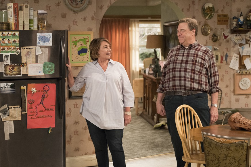 This image released by ABC shows Roseanne Barr, left, and John Goodman in a scene from the comedy series