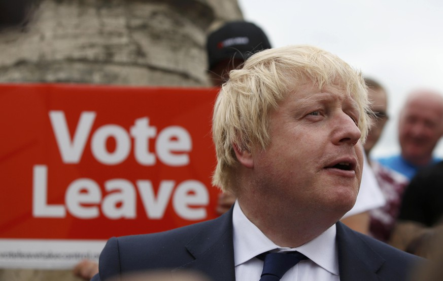 Former London Mayor Boris Johnson speaks during a