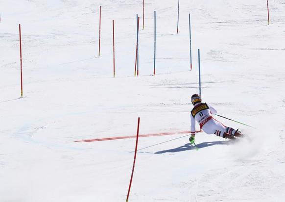 Austria's Marcel Hirscher competes during a men's slalom, at the alpine ski World Championships, in St. Moritz, Switzerland, Sunday, Feb. 19, 2017. (AP Photo/Alessandro Trovati)
