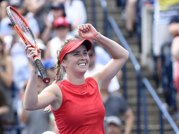 Ukraine's Elina Svitolina celebrates her win over Caroline Wozniacki of Denmark in the final of the Rogers Cup women's tennis tournament in Toronto on Sunday, Aug. 13, 2017. (Frank Gunn/The Canadian Press via AP)