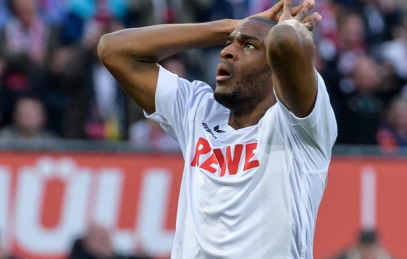 epa05946117 Cologne's Anthony Modeste reacts during the German Bundesliga soccer match between 1.FC Koeln (Cologne) and SV Werder Bremen in Cologne, Germany, 05 May 2017. Bremen lost the match 3-4.  EPA/JOERG SCHUELER EMBARGO CONDITIONS - ATTENTION: Due to the accreditation guidelines, the DFL only permits the publication and utilisation of up to 15 pictures per match on the internet and in online media during the match.