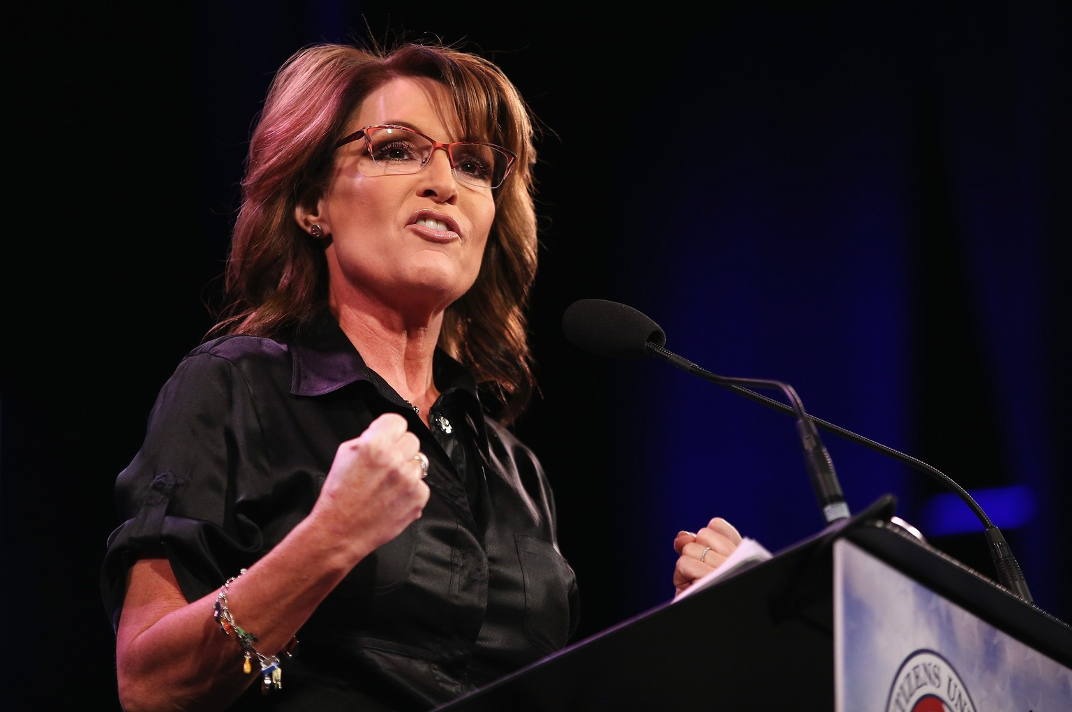 DES MOINES, IA - JANUARY 24: Former Alaska Governor Sarah Palin speaks to guests at the Iowa Freedom Summit on January 24, 2015 in Des Moines, Iowa. The summit is hosting a group of potential 2016 Republican presidential candidates to discuss core conservative principles ahead of the January 2016 Iowa Caucuses.   Scott Olson/Getty Images/AFP == FOR NEWSPAPERS, INTERNET, TELCOS & TELEVISION USE ONLY ==